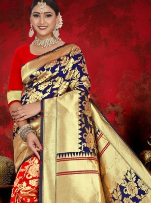 Blue and Red Jacquard Designer Half N Half Saree