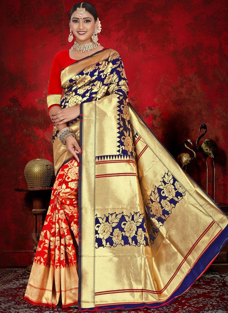 Blue and Red Jacquard Designer Half N Half Saree