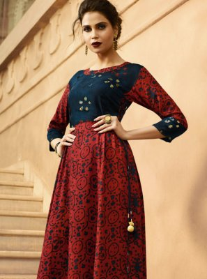 Blue and Red Printed Party Party Wear Kurti