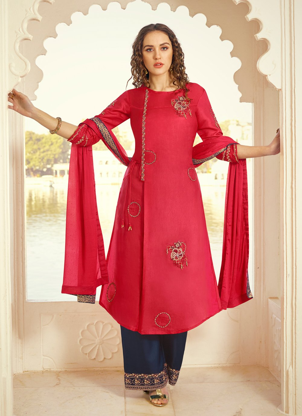Blue and Red Tussar Silk Bollywood Salwar Kameez