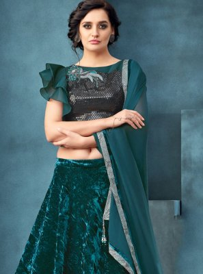 Blue and Teal Embroidered Velvet Designer A Line Lehenga Choli