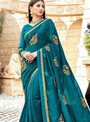 Blue and Teal Party Half N Half Trendy Saree