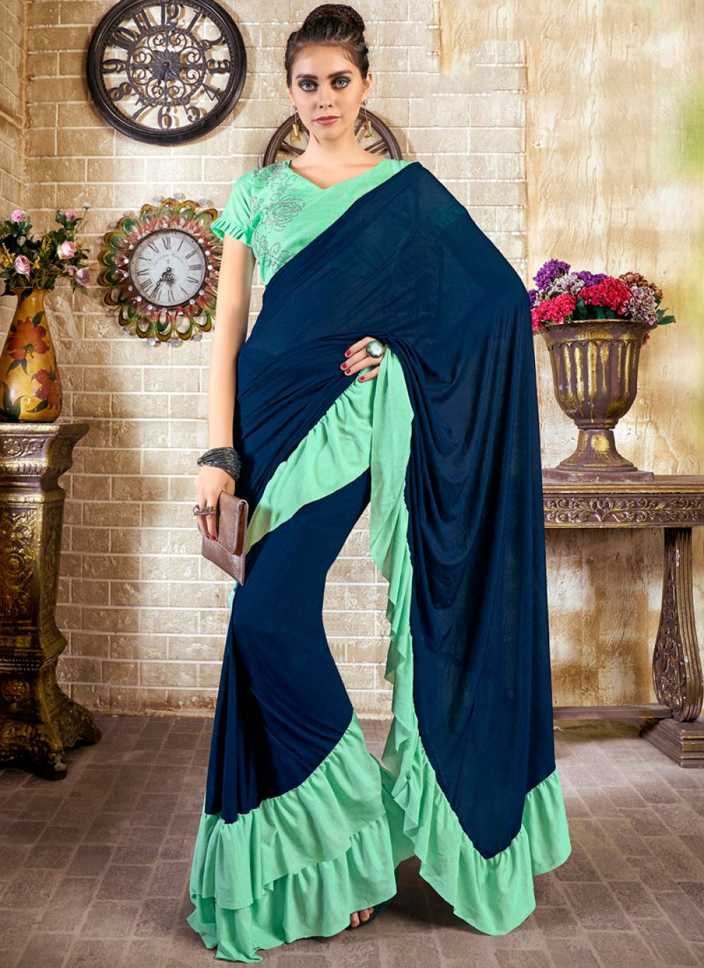 Blue and Turquoise Color Casual Saree