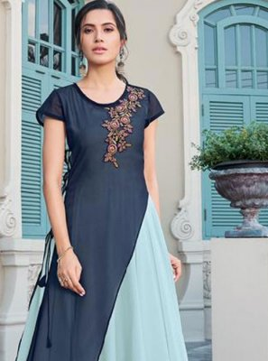 Blue and Turquoise Faux Georgette Trendy Gown