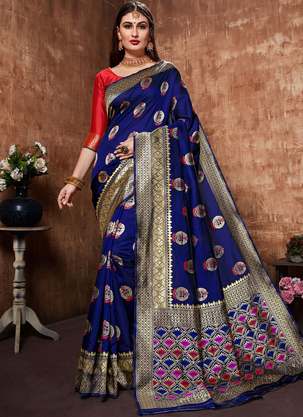 Blue Art Banarasi Silk Weaving Designer Traditional Saree