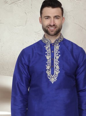 Blue Art Dupion Silk Ceremonial Kurta