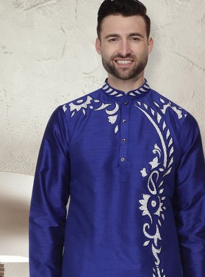 Blue Art Dupion Silk Reception Kurta