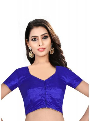 Blue Art Raw Silk Sangeet Designer Blouse