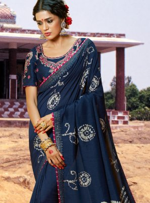Blue Art Silk Bandhej Saree