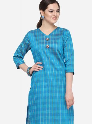 Blue Art Silk Cotton Casual Party Wear Kurti
