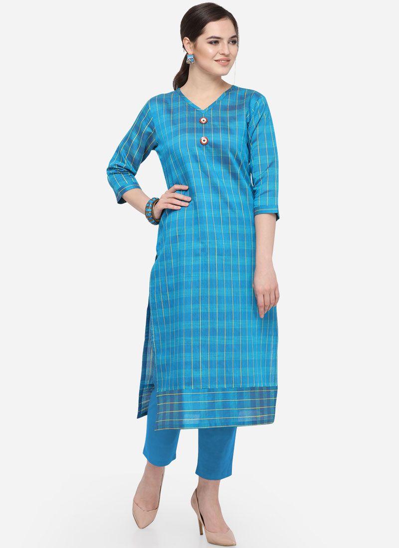 Blue Art Silk Cotton Casual Party Wear Kurti