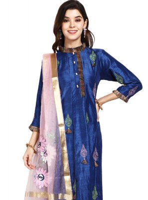 Blue Art Silk Designer Pakistani Salwar Suit