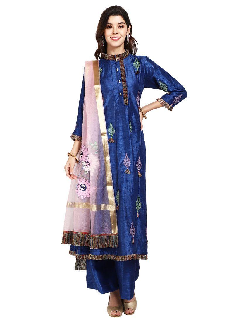 Blue Art Silk Designer Pakistani Salwar Suit