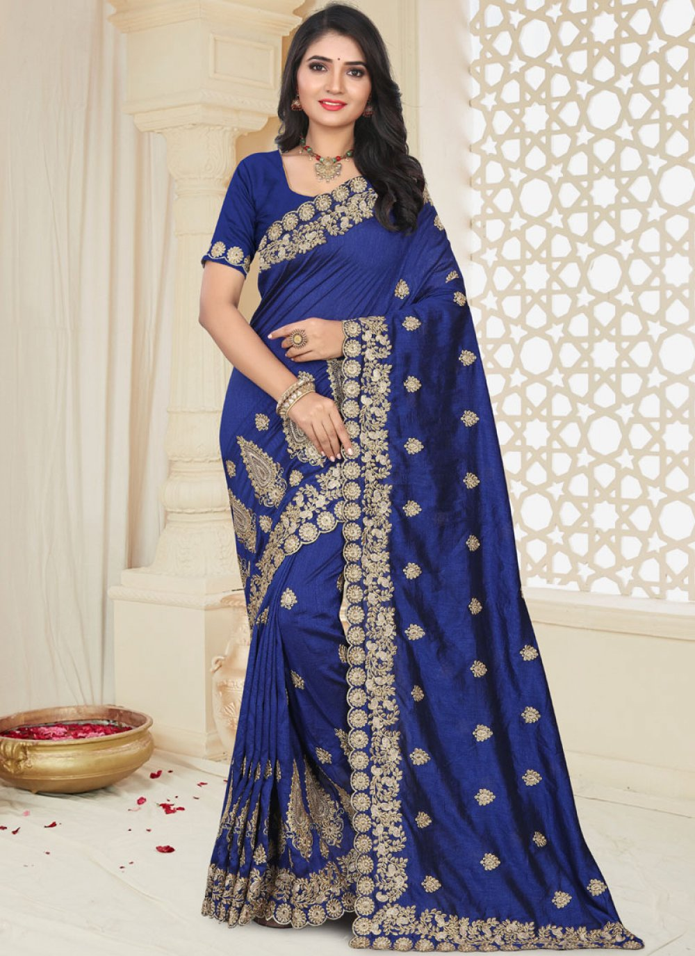 Blue Art Silk Patch Border Traditional Designer Saree