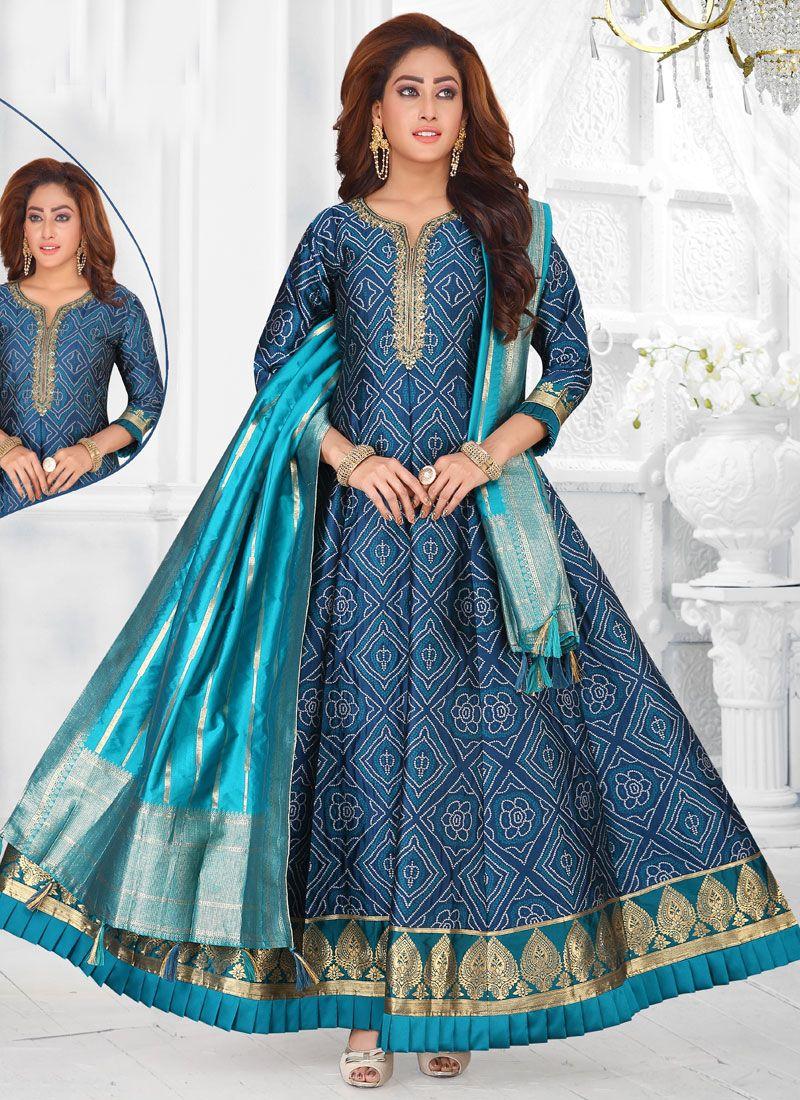 Blue Art Silk Readymade Suit