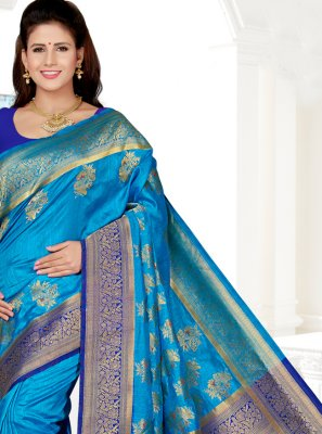 Blue Art Silk Trendy Saree