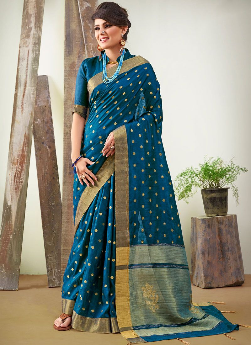 Blue Art Silk Woven Traditional Saree