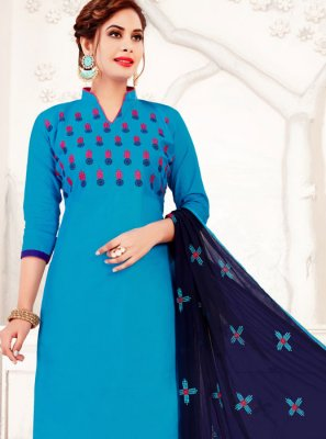 Blue Banarasi Silk Embroidered Salwar Suit