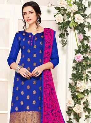 Blue Banarasi Silk Party Salwar Suit