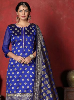 Blue Banarasi Silk Salwar Suit