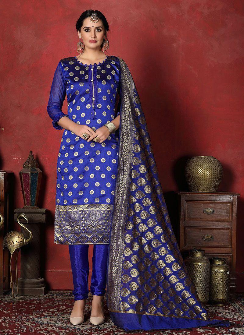 Blue Banarasi Silk Salwar Suit