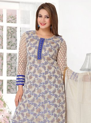 Blue Banarasi Silk Weaving Designer Salwar Suit
