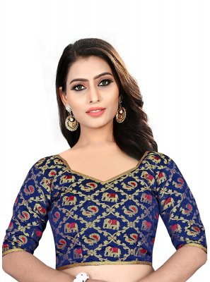 Blue Brocade Designer Blouse
