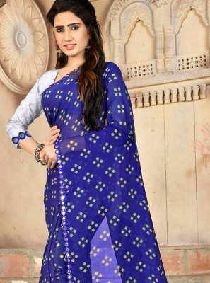 Blue Casual Printed Saree