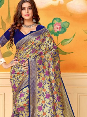 Blue Casual Silk Classic Saree