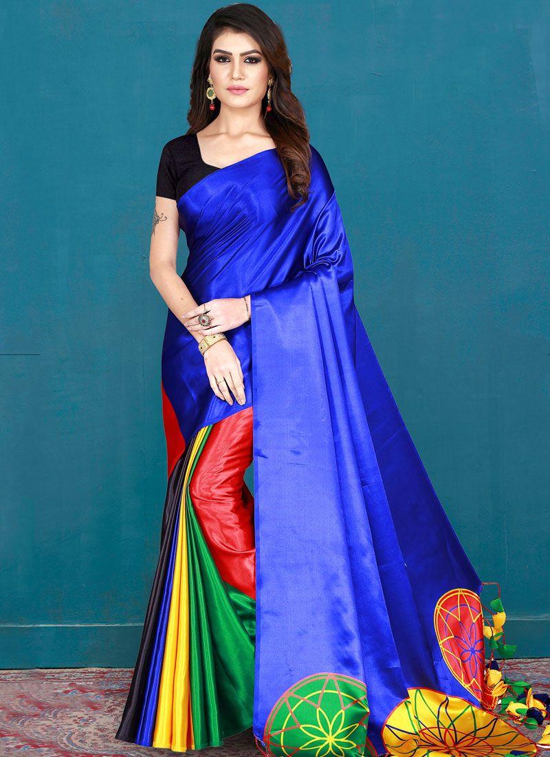 Blue Casual Silk Saree