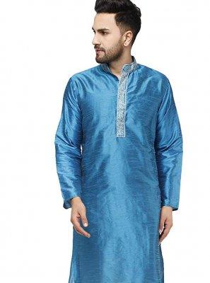 Blue Ceremonial Art Dupion Silk Kurta Pyjama