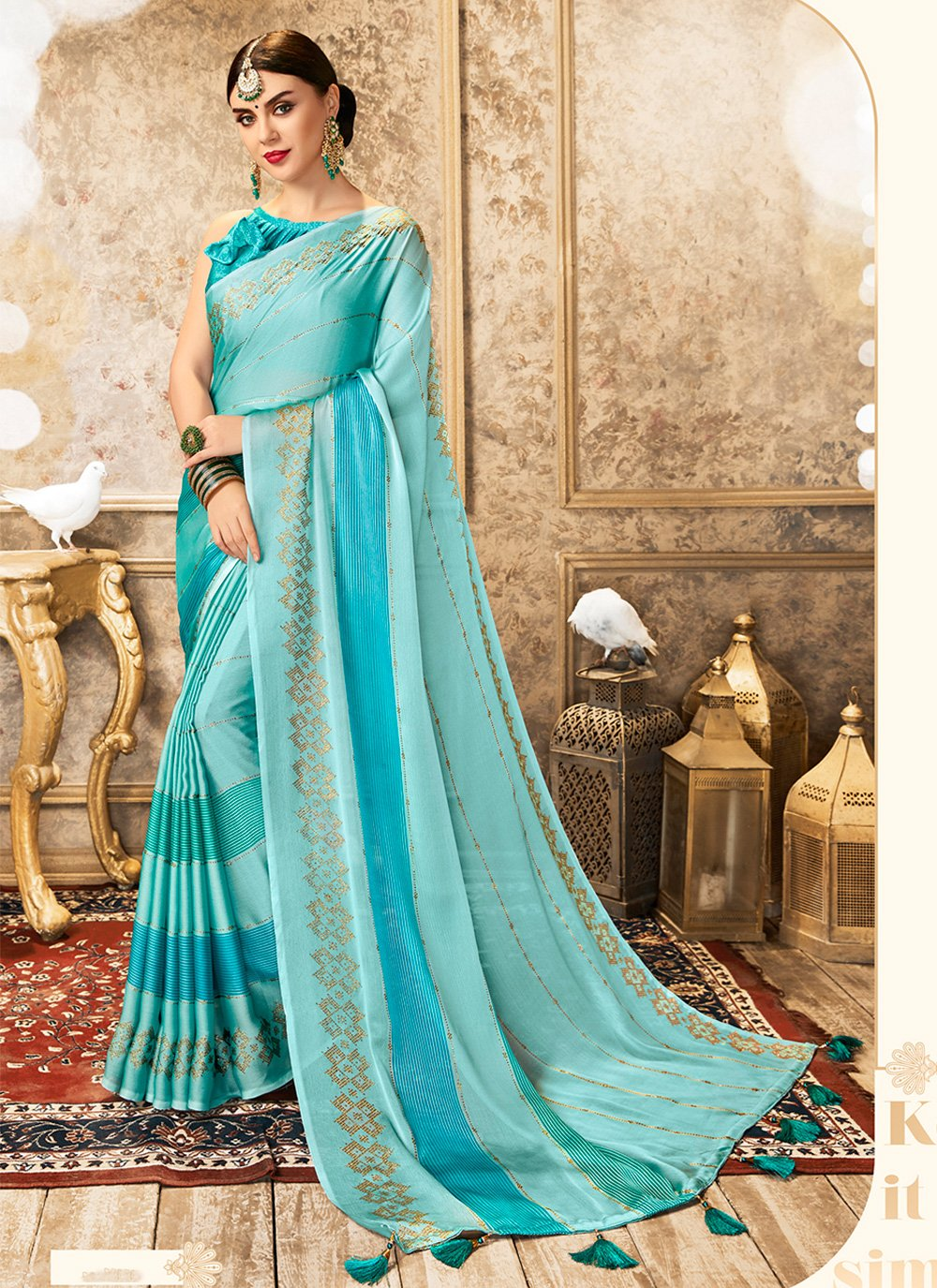 Blue Ceremonial Faux Chiffon Casual Saree