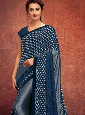 Blue Ceremonial Lycra Designer Saree