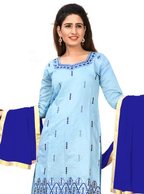 Blue Chanderi Cotton Embroidered Churidar Salwar Kameez