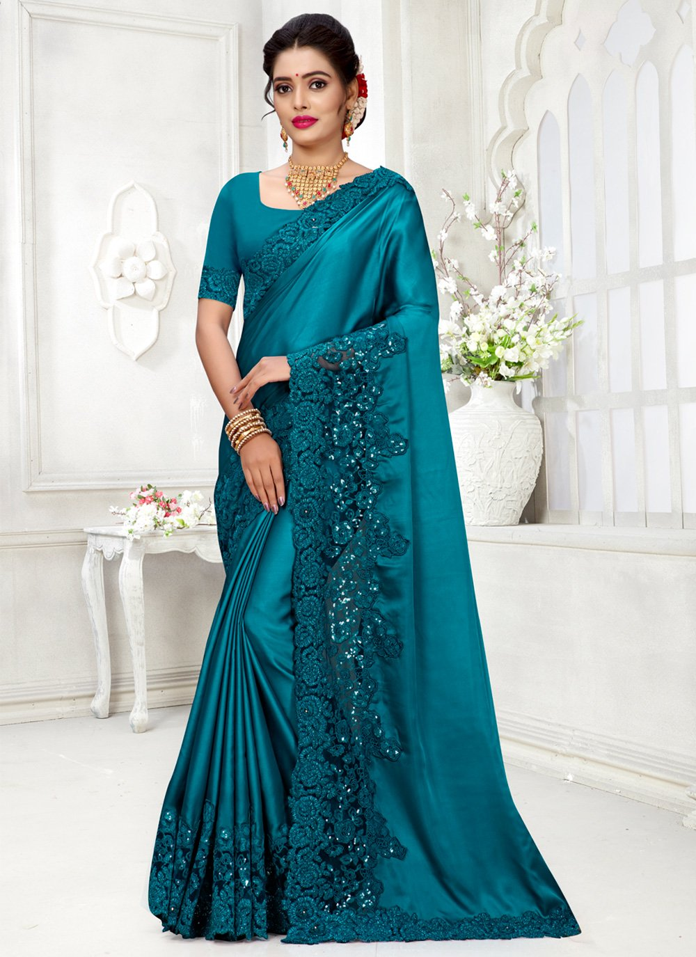 Blue Color Contemporary Style Saree