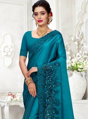 Blue Color Contemporary Style Saree