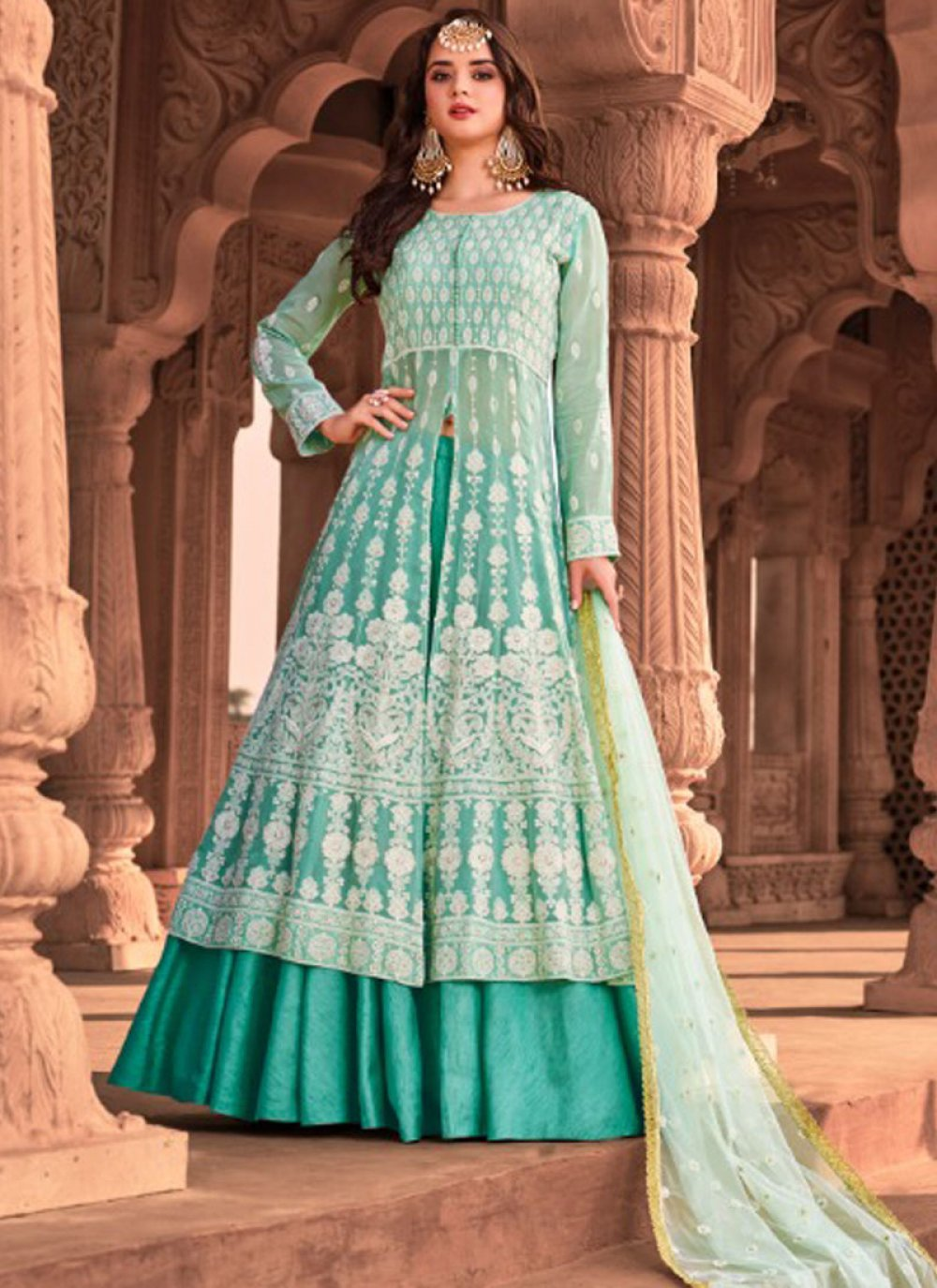 Blue Color Long Length Trendy Suit