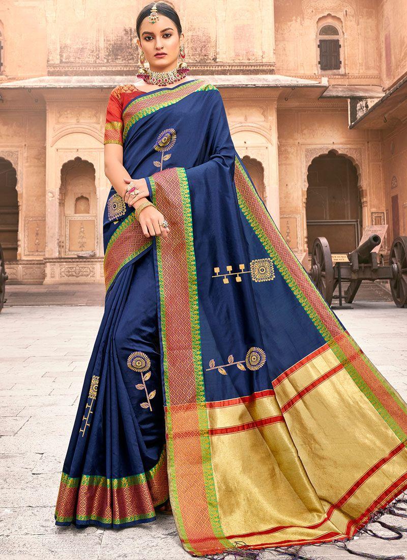 Blue Color Traditional Saree