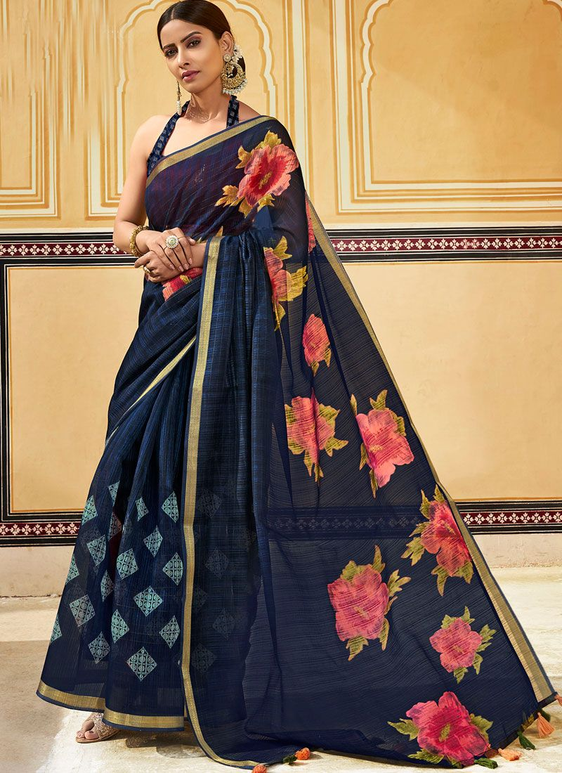 Blue Cotton Abstract Print Printed Saree