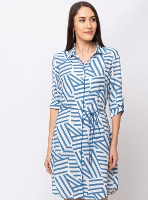 Blue Cotton Casual Party Wear Kurti