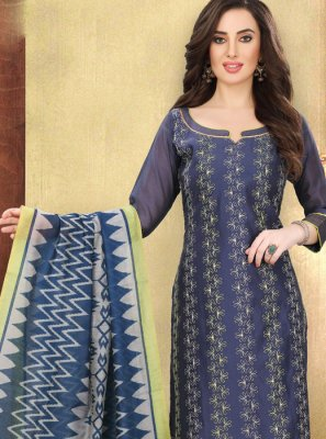 Blue Cotton Churidar Designer Suit