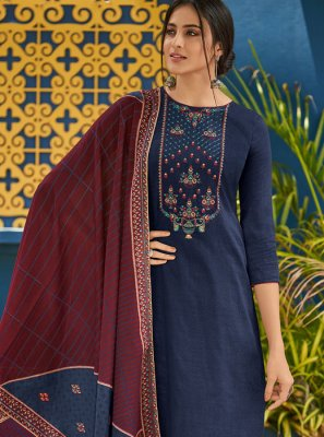 Blue Cotton Embroidered Designer Salwar Kameez