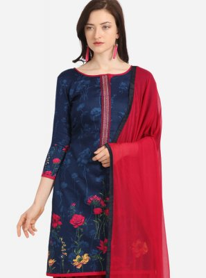 Blue Cotton Festival Patiala Salwar Suit