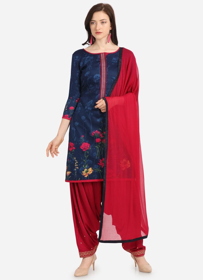 Blue Cotton Festival Patiala Salwar Suit