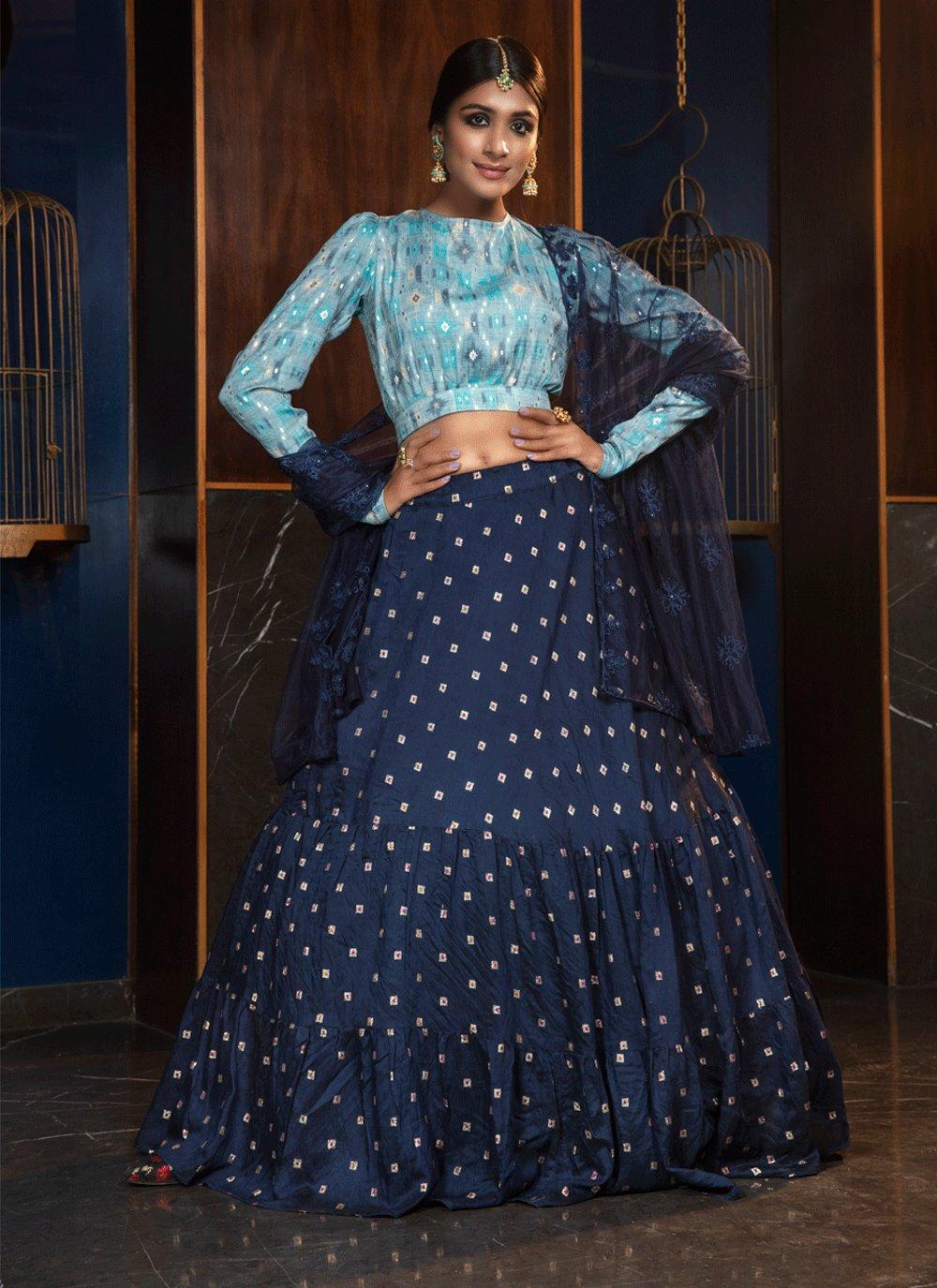Blue Cotton Lehenga Choli