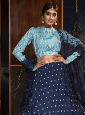 Blue Cotton Lehenga Choli