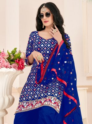 Blue Cotton Party Patiala Suit