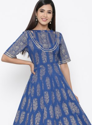 Blue Cotton Print Casual Kurti