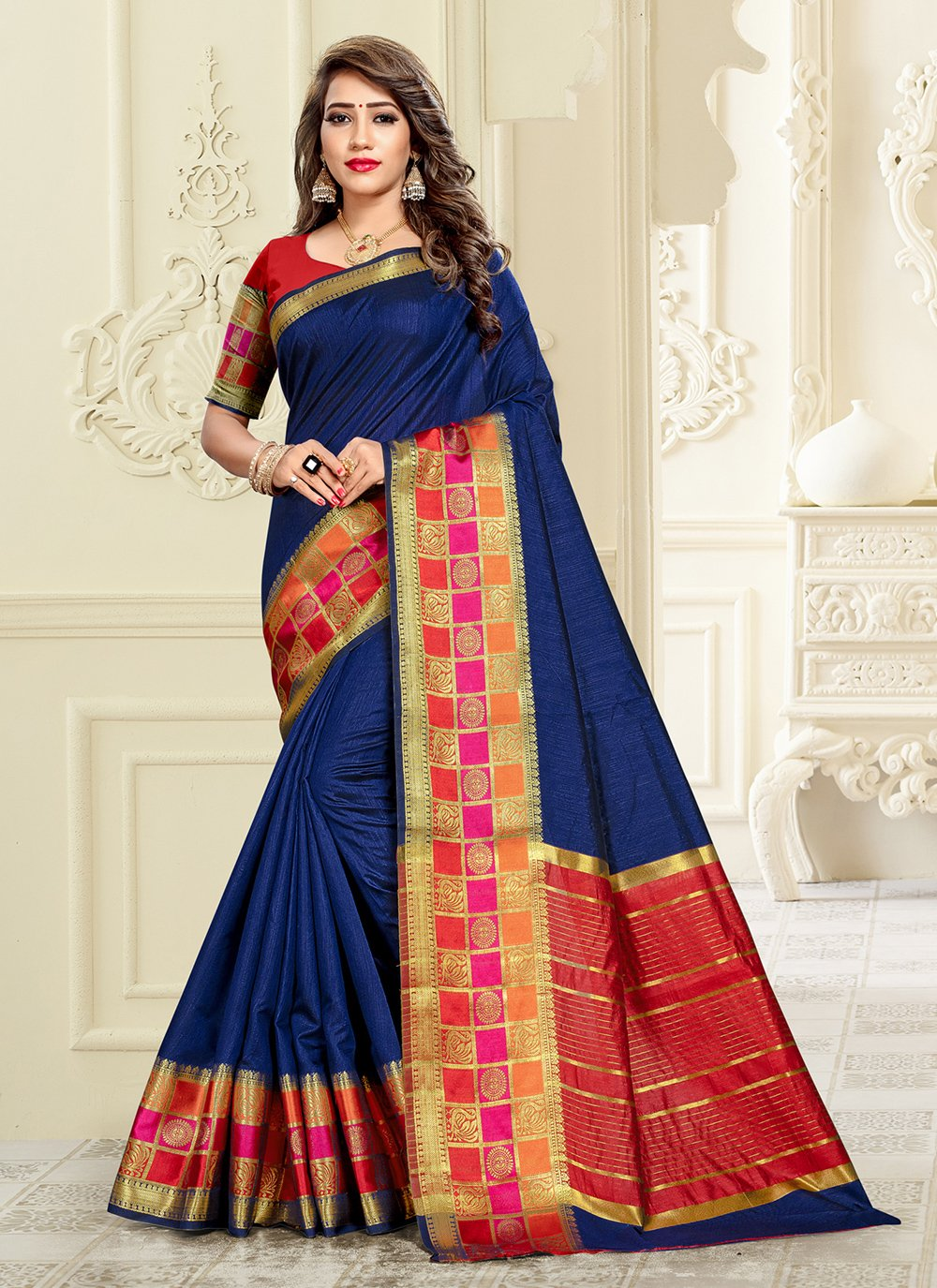 Blue Cotton Silk Engagement Saree