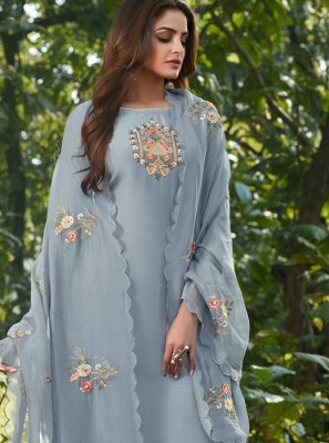 Blue Cotton Silk Festival Designer Salwar Suit